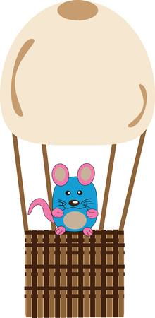 A mouse sits on a basket balloons illustration