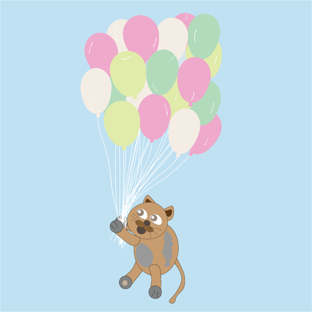 cat holds on balloons on blue background illustration