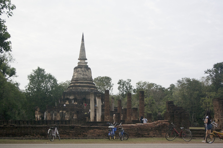 Old temple at Srisatchanalai Historical Park Thailand Stockfoto