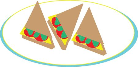 sandwiches on a dish illustration