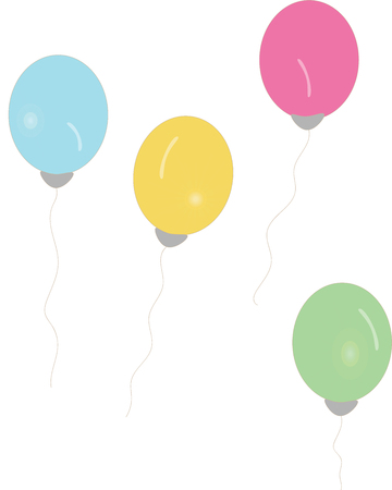 four color balloons float illustration Stock Illustratie