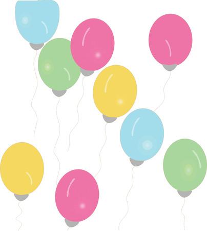 nine color balloons float illustration Ilustração