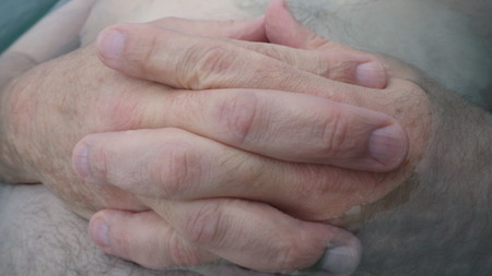 human hands hold together Stockfoto