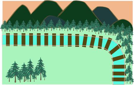 train track in nature illustration