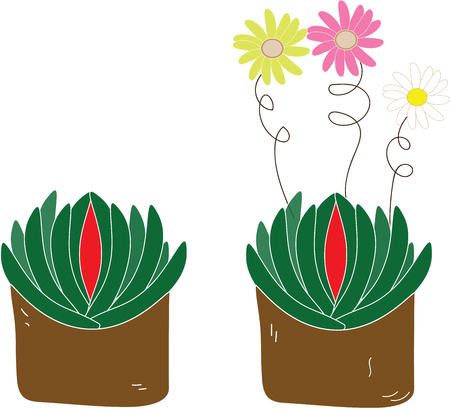 Flowers in pot plants illustration Stock Illustratie