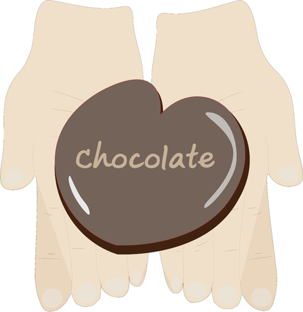 Hands hold chocolate heart shape illustration