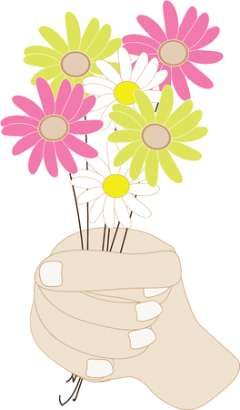 A hand holds a bunch of flowers illustration