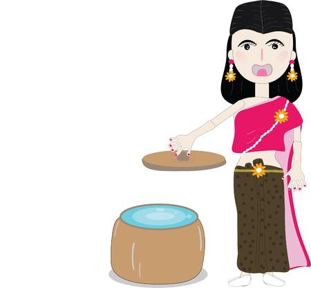 Thai costume woman character  illustration Stock Illustratie