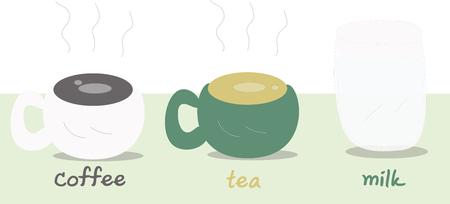 coffee tea milk illustration Stock Illustratie