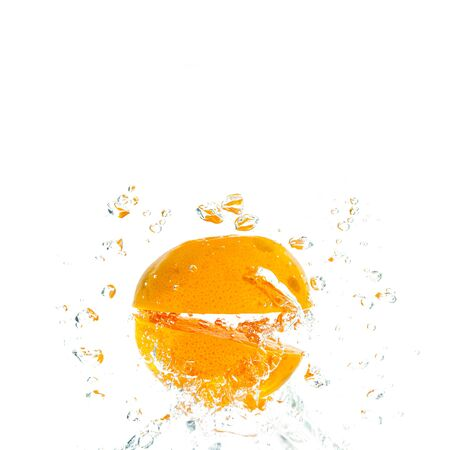 deeply: Orange Slices falling deeply under water