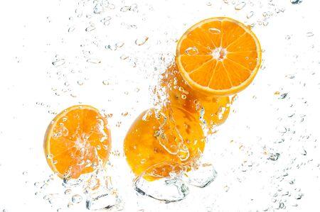 Orange Slices falling deeply under water