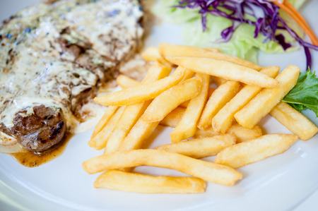beefsteak: Grilled beefsteak with french fries Stock Photo