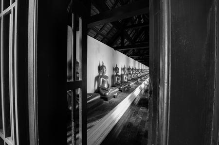 buddha statue: Buddha statue at the temple, Thailand, black&white Editorial