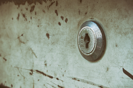 key hole: Old key hole of steel cabinet vintage style