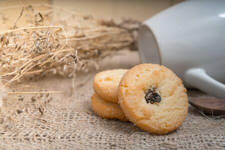 pasteurized: Cookies with a glass of milk with spoon on sackcloth Vintage Style