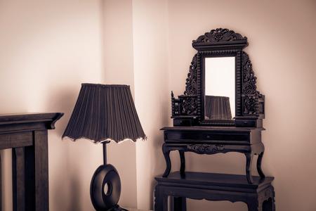 bedside: Bedside lamp with glass shelf, vintage style.