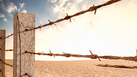 Old barbed wire mounted on wooden poles 3d render. It's like a barrier to work or travel.