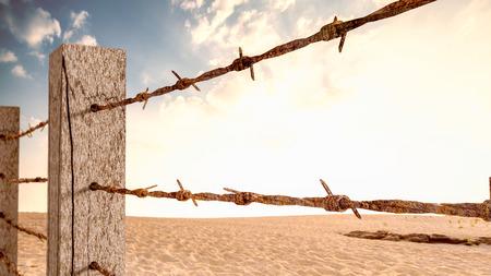 古い有刺鉄線は、木の棒の 3 d レンダリングにマウントされています。仕事や旅行にバリアのようなものです。