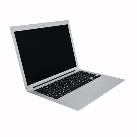 black metallic background: laptop isolated on white background 3d render Stock Photo