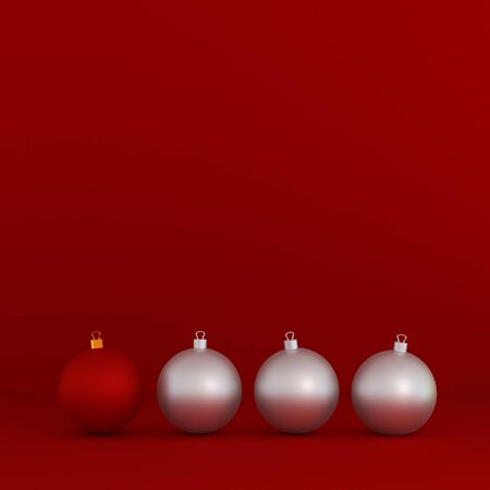 Red and white Christmas decoration balls on red toned background, minimal concept 3D render.