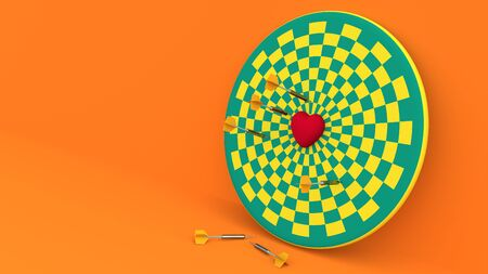 Darts hitting in the target heart 3d render,love concept and pop art color.