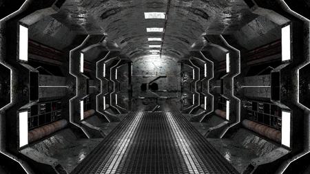 realistic old spaceship sci-fi corridor , 3D render.