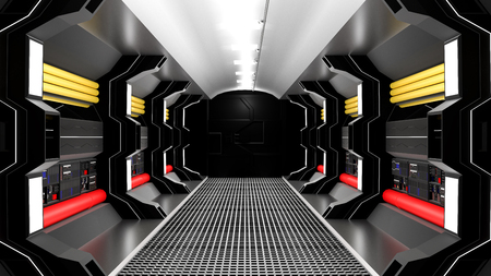 realistic spaceship sci-fi corridor black , 3D render.