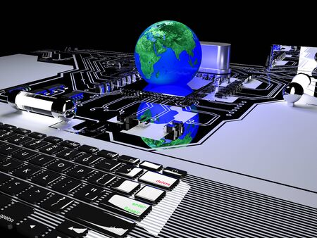 earth globe on processor with circuit board. communication and technology concept,3d render.