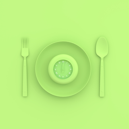 clock in plate with spoon and fork pastel green color. take noon break and minimal concept,3D render