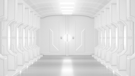 science lap, sci-fi corridor white color , 3D render.