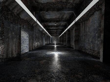 realistic old spaceship sci-fi corridor,3D render. Banco de Imagens