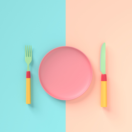 Fork with knife and  plate pastel color with copy space for your text , concept pastel color 3d render. 写真素材