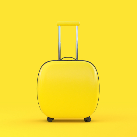 Travel suitcase yellow color isolated on yellow background