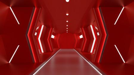 realistic red spaceship sci-fi corridor,3D render. Stock Photo