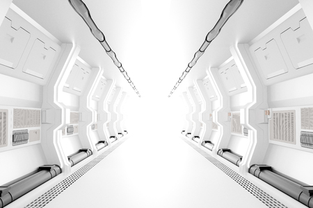 spaceship or science lap and over light at end , sci-fi corridor , 3D render.