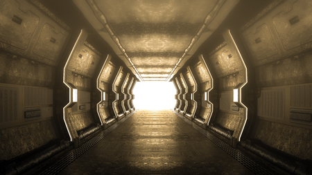 Realistic old spaceship with over light at end and fog sci-fi corridor,3D render.