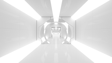 spaceship or science lap, sci-fi corridor white color , 3D render. 写真素材