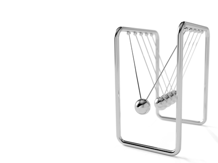 Newtons cradle or Pendulum isolated on white background, 3d render.