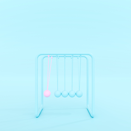 Newtons cradle or Pendulum isolated on blue pastel background, minimal concept 3d render.