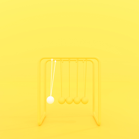 Newtons cradle or Pendulum isolated on yellow pastel  background, minimal concept 3d render
