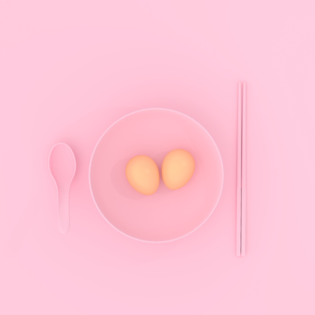 Fried egg on plate with spoon and chopsticks pink color. minimal concept,3D render