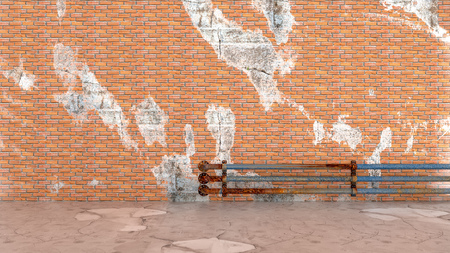 brick wall textures background with tube and copy space for your text. 3d render. Stock Photo