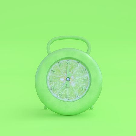 Minimal concept. Green lemon alarm clock with clipping path and copy space for your text, 3d render. Stock Photo