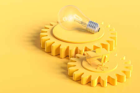 Work desk and light bulb yellow color on the gear with copy space for your text.  yellow background, minimal concept 3d render. Reklamní fotografie