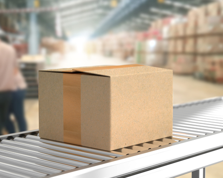 Box on conveyor roller in warehouse mock-up for your text. 3D Rendering Archivio Fotografico