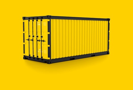 Minimal concept Container yellow color with clipping path and mock-up for your text, 3d render.