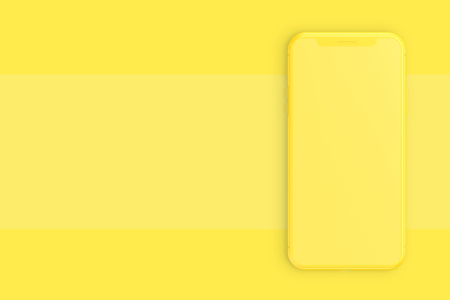 minimal idea concept. Smartphone Mock-up yellow color on yellow background with clipping path and copy space for your text, 3D Render.