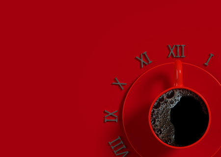 Black coffee in red cup for time. Working and Break time idea concept, 3d render. 版權商用圖片