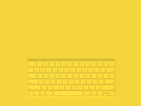 Concepto mínimo. Color amarillo del teclado y espacio de copia para su texto, renderizado 3D.