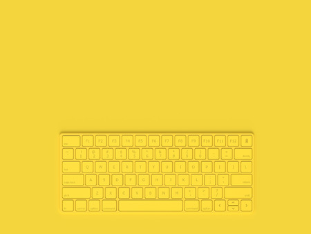 Minimal concept. Keyboard yellow color and copy space for your text, 3D Render. 스톡 콘텐츠